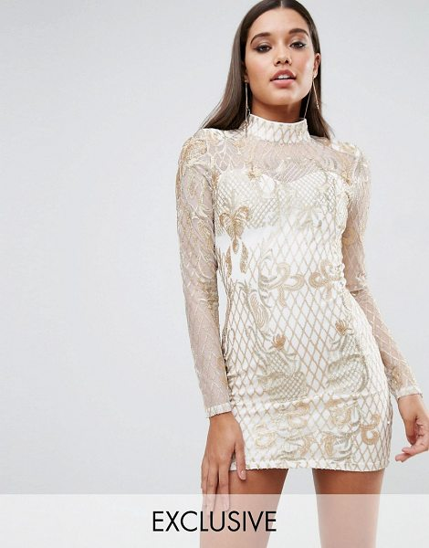 "Club L high neck embellished mini dress in goldcream - """"Dress by Club L, Sheer mesh, Partially lined, High..."