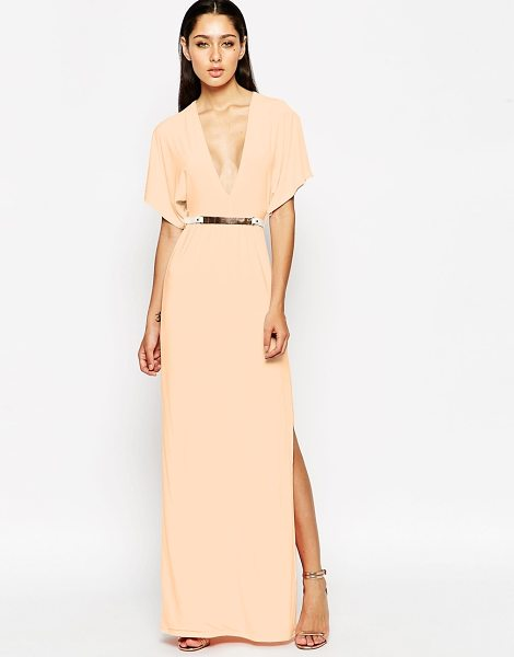 Club L Kimomo maxi dress with bar belt in nude - Maxi dress by Club L Smooth, lightweight slinky fabric...