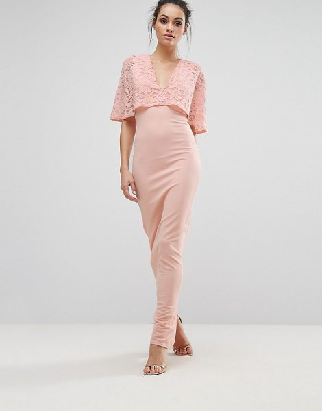 """CLUB L Kimono Sleeve Maxi Dress with Lace Overlay - """"""""Maxi dress by Club L, Smooth knitted fabric, Sheer..."""