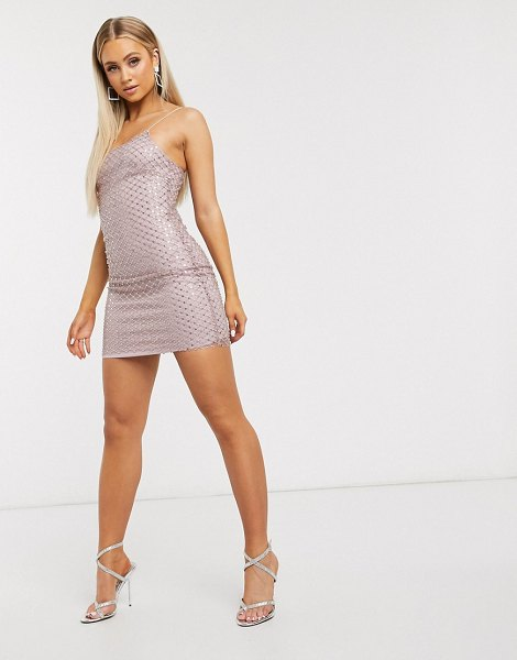 Club L London embellished overlay mesh cami mini dress in pale pink in pink
