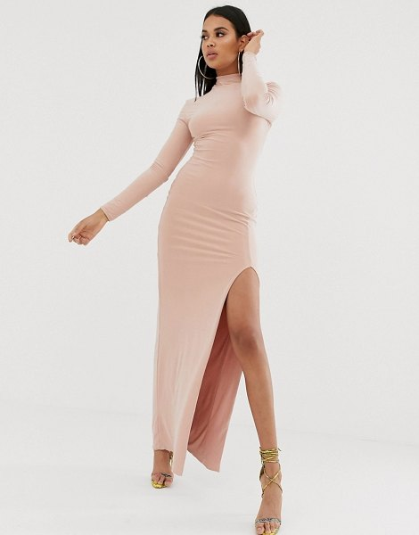 Club L London high neck long sleeve maxi dress with high thigh split in pink in pink