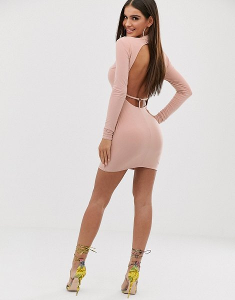 Club L London high neck long sleeve mini bodycon dress with open back thong detail in pink in pink
