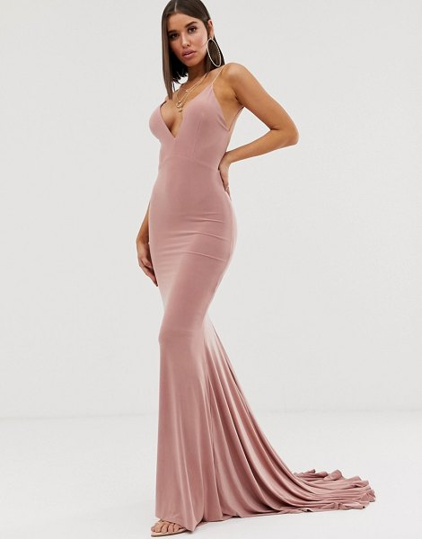 Club L London high strappy back fishtail maxi dress in pink in pink