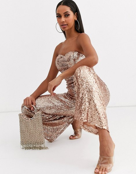 Club L London sequin bandeau wide leg jumpsuit in gold in gold