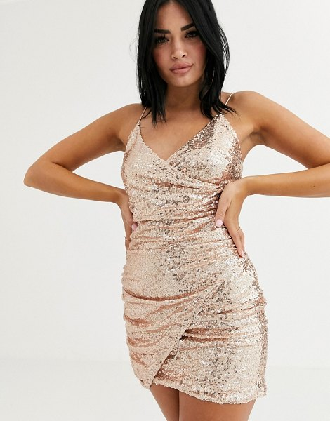 Club L London sequin wrap front asymmetric mini dress in rose gold-pink in pink