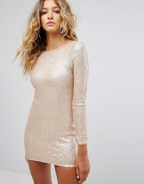 ff32c0d01105 Club L Long Sleeve Plunge Back All Over Sequin Mini Dress | Nudevotion