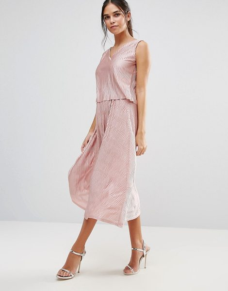 CLUB L Midi Skirt With Shimmer in pink - Skirt by Club L, Crinkled silky-feel fabric, High-rise...