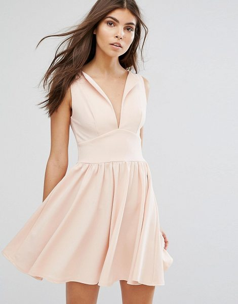 Club L Plunge Front Skater Dress in pink - Skater dress by Club L, Smooth stretch fabric, High...