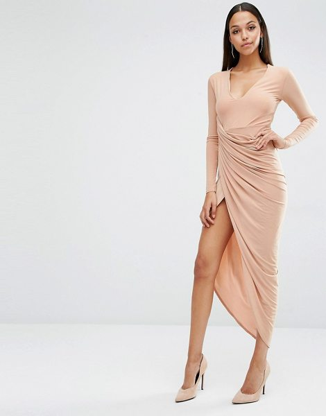 CLUB L Plunge Neck Maxi Dress With Wrap Skirt in beige - Maxi dress by Club L, Slinky-feel fabric, Plunge...
