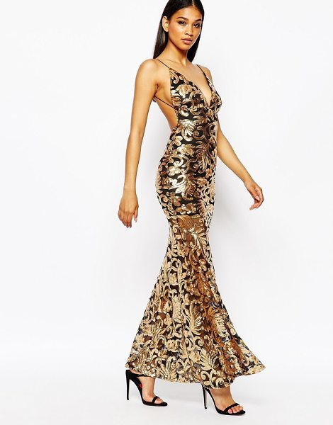 Club L Showstopper open back sequin maxi dress with fishtail in goldblack - Maxi dress by Club L Sequin embellished fabric V-plunge...