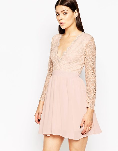 Club L Skater Dress with Lace Scallop Plunge in pink - Lace dress by Club L, Sheer lace, Partially lined,...