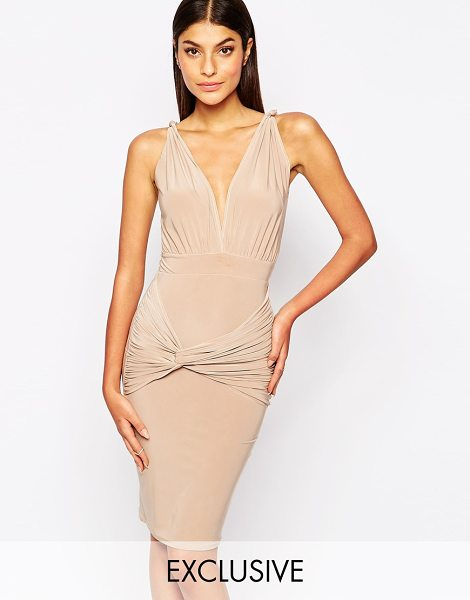 Club L Slinky jersey knot body-conscious dress in nude - Body-Conscious dress by Club L Smooth stretch fabric...
