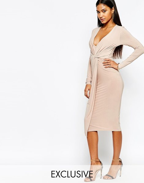 Club L Slinky Knot Detail Midi Dress in beige - Dress by Club L, Slinky-feel stretch fabric, Plunge...