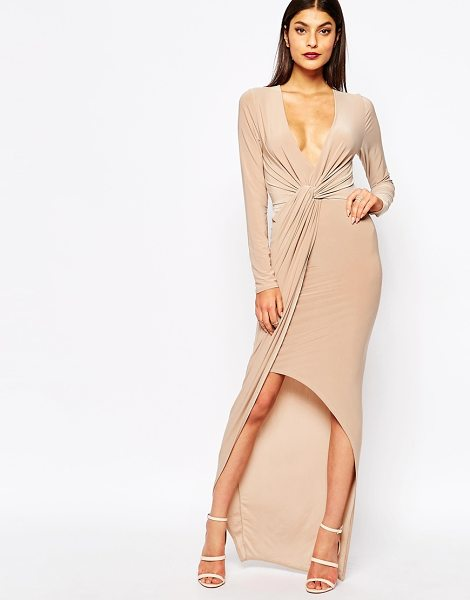 CLUB L Slinky Maxi Dress With Knot Front Detail - Dress by Club L, Smooth stretch fabric, Plunge neckline,...