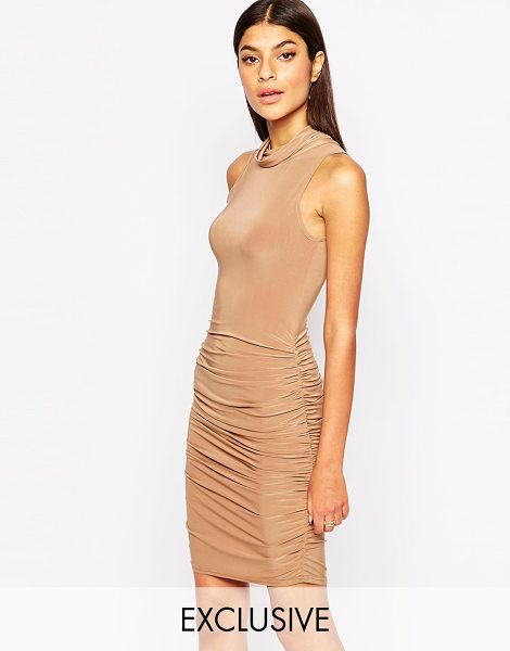 Club L Slinky pencil dress with side ruched detail in light beige - Pencil dress by Club L Smooth stretch fabric High...
