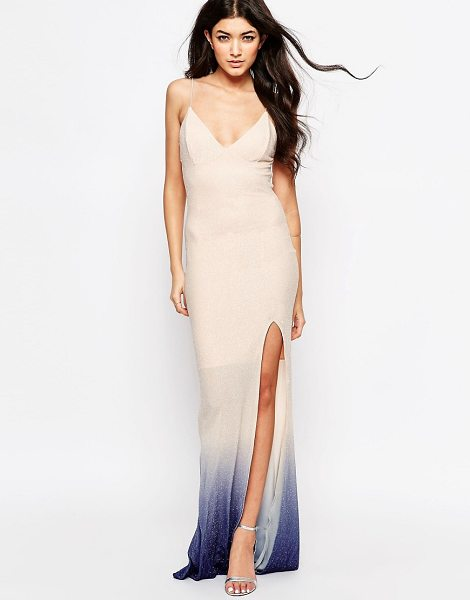CLUB L Tie back fishtail maxi dress in ombre glitter - Maxi dress by Club L, Soft-touch knitted fabric,...