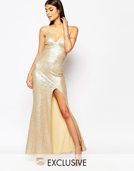 Club L Tie back sequin maxi dress with thigh split in matte gold - Maxi dress by Club L Sequin embellished fabric...