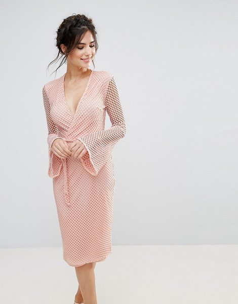 "CLUB L V Neck Fishnet Flute Sleeve Midi Dress in pink - """"Midi dress by Club L, Partially-lined fishnet fabric,..."