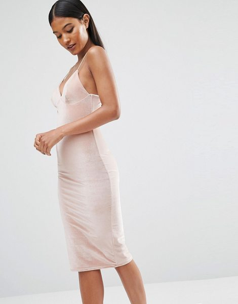 CLUB L Velvet Cami Strap Midi Dress - Body-Conscious dress by Club L, Lightweight soft-touch...