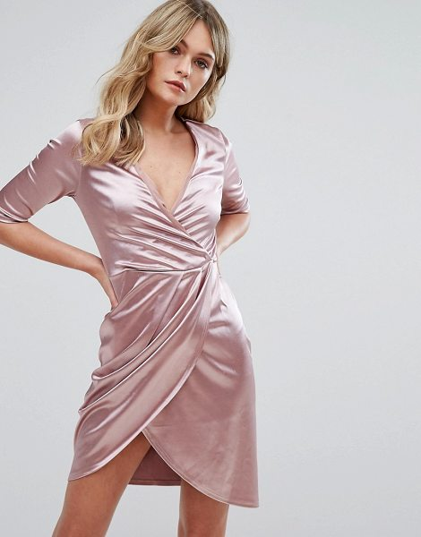 Club L wrap dress in nude - Dress by Club L, Lightweight satin, Wrap front, V-neck,...