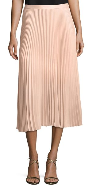 "Club Monaco Annina Pleated A-line Midi Skirt in pink - Club Monaco ""Annina"" pleated skirt. Natural rise. A-line..."