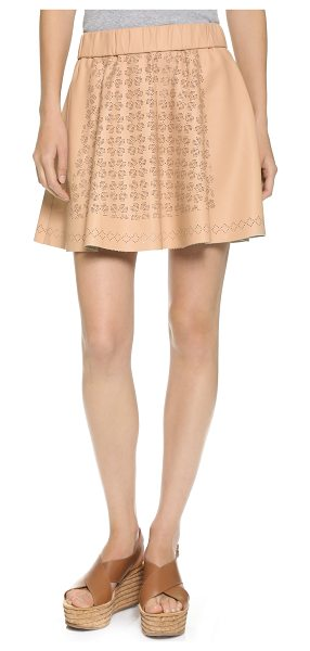 Club Monaco Bria skirt in sunkissed - A flared Club Monaco miniskirt in smooth faux leather....