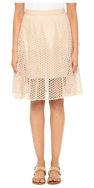 Club Monaco Calcia skirt in cameo pink - Godet insets lend movement and volume to an airy eyelet...