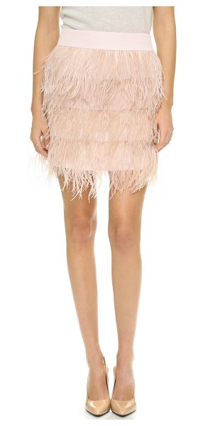 Club Monaco Dace skirt in putty pink - Luxe ostrich feathers cover this tiered Club Monaco...