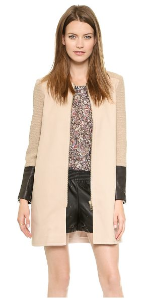 Club Monaco Faye coat in pink - Tonal twill and lambskin panels lend contemporary style...