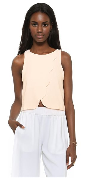 Club Monaco Genero scalloped crop tank in pink pearl - Scalloped crossover panels form the front of an easy...
