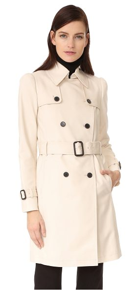 Club Monaco lamae trench in champagne - Weighty polished twill complements the classic lines of...
