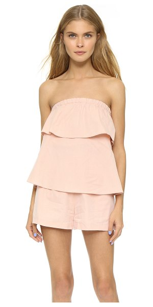 Club Monaco Leele romper in pink salt - Tiered ruffles lend a sweet touch to this strapless Club...