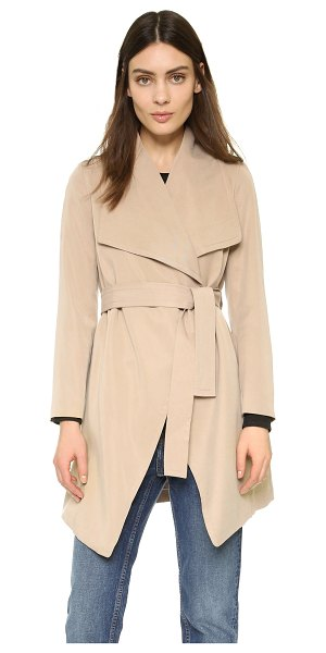 Club Monaco Martuska trench in khaki - Oversized lapels frame the open placket on this slinky...
