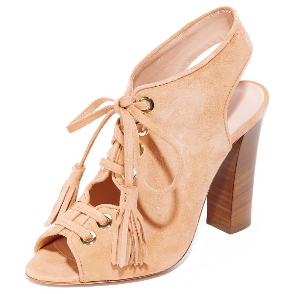Club Monaco mireva lace up sandals in peach - Polished grommets trim the scalloped top line on these...