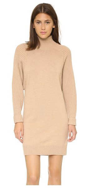 Club Monaco Raychel sweater dress in camel - Oversized, ribbed long sleeves add to the slouchy look...