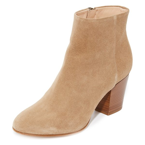 Club Monaco rina booties in elephant - Versatile Club Monaco booties crafted in smooth suede....