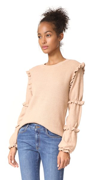 Club Monaco sabella sweater in iced latte - This ribbed knit Club Monaco sweater has a ruffle trim...