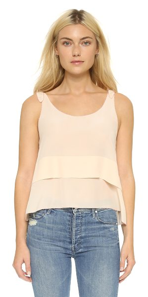 Club Monaco Salyie tank in cameo pink - Contrast embroidery details the edges of a delicate,...
