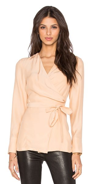 C/MEO Basic space blouse in blush - 100% silk. Hand wash cold. Wrap tie closure. CAME-WS116....