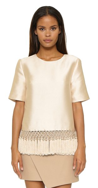 C/Meo Collective Break free top in shell - Playful fringe and a boxy fit lend a retro look to this...