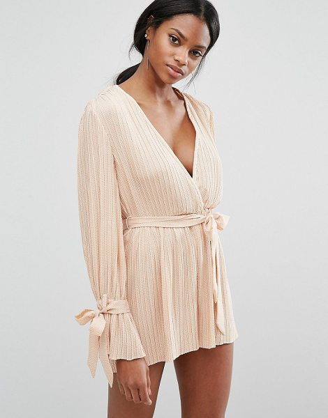 C/Meo Collective C/Meo Collective Unstoppable Romper in tan - Romper by C/meo Collective, Pleated textured fabric,...