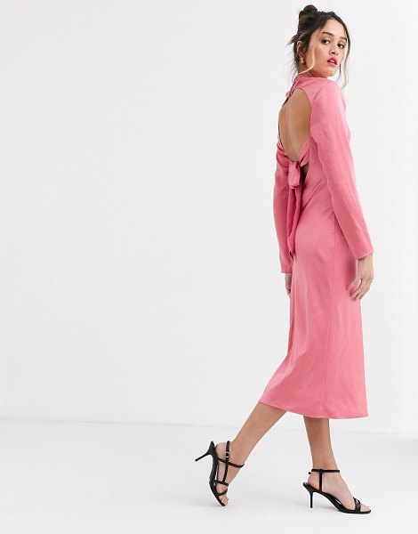 C/Meo Collective c/meo sqaure neck satin midi dress in pink in pink