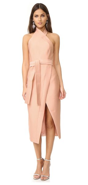 C/MEO COLLECTIVE easy love dress in peach - An angular front slit accents the crossover skirt on...
