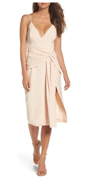C/Meo Collective enlighten sheath dress in pearl - A crepe dress updated with a plunging neckline, knotted...