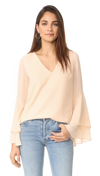 C/Meo Collective enlighten top in pearl - Long bell sleeves with double-layered cuffs add a swingy...