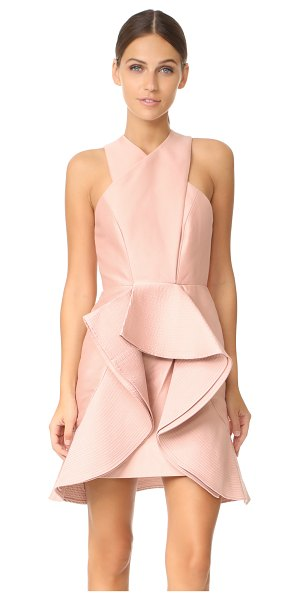 C/Meo Collective extant dress in dusty pink - Bonded ruffles add asymmetrical structure to this...