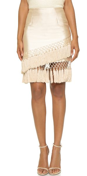 C/Meo Collective Firestone skirt in shell - Asymmetrical fringe creates a modern meets retro look on...