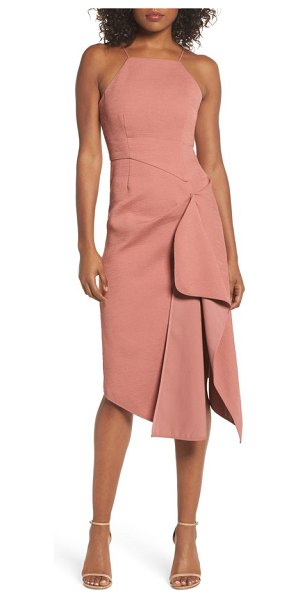 C/Meo Collective fluidity draped midi dress in terracotta - Precise structure and a textured knit fabrication create...