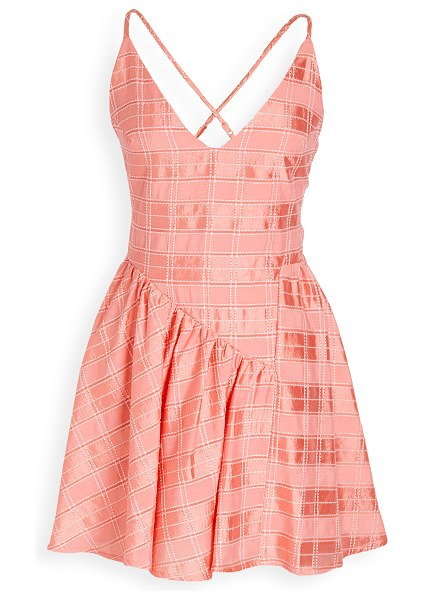 C/Meo Collective same things mini dress in coral check