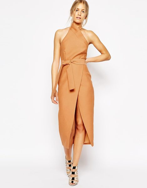 C/Meo Collective Stand still midi dress in tan in tan - Evening dress by C/meo Collective, Lined, structured...